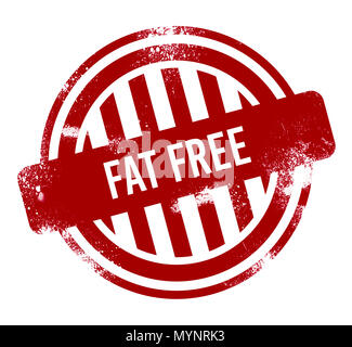 fat free - red grunge button, stamp - Stock Photo