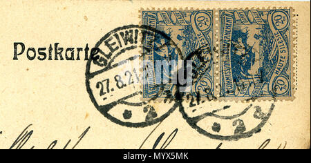 . English: Stamps of Upper Silesia, pair of 20 Pfg on a Postcard, cancelled at GLEIWITZ on 27 August 1921.  . 14 August 2013, 22:36:55. Jacquesverlaeken 1 1921 UpperSilesia 20Pfg Gleiwitz Gliwice Poland - Stock Photo