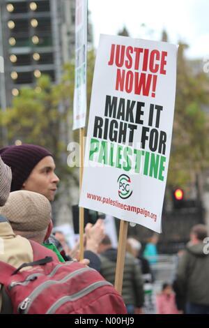 London, UK. 4th November, 2017. Justice for Palestine Rally, London Credit: Dawud Marsh/StockimoNews/Alamy Live - Stock Photo