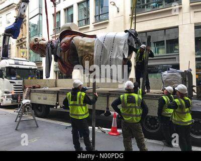 London, UK. 13th May, 2018. Damien Hirst's 'Temple' (2008) recently on display in the City of London as part of Sculpture in the City is being removed Credit: michelmond/StockimoNews/Alamy Live News - Stock Photo