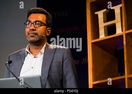 Dr Sujit Sivasundaram , Reader in World History at Cambridge University,  fellow of Gonville and Caius College, Cambridge. He is the author of 'Nature and the Godly Empire: Science and Evangelical Mission in the Pacific, 1795-1850'.  At the Hay Festival  of Literature and the Arts, May 2018 - Stock Photo