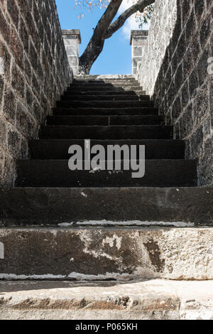 Steps to a new life at Aapravasi Ghat (Hindi for the 'landing place of immigrants'), previously known as Coolie Ghat. Port Louis. Mauritius - Stock Photo