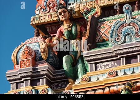 Mariamen Temple, near north bus terminal, downtown Port Louis,  Mauritius (Full name - a recent change is Shrimadu Kannadur Mariamen Tirukkovil) - Stock Photo