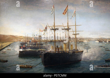 Foreign fleets in Barcelona in 1888. Warships. Painting by Emilio Sivilla. Detail. Barcelona Maritime   Museum. Spain. - Stock Photo