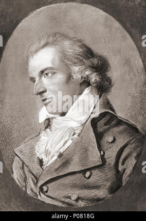 Johann Christoph Friedrich von Schiller, 1759 – 1805. German poet, philosopher, physician, historian, and playwright. After a contemporary print. - Stock Photo