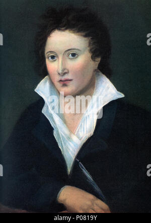 Percy Bysshe Shelley, 1792 –  1822.  English poet, dramatist, essayist, novelist.  After a contemporary print. - Stock Photo