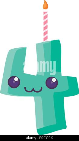 Kawaii birthday candle of number four over white background, vector illustration - Stock Photo