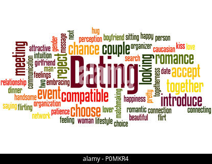 Dating word cloud concept on white background. - Stock Photo