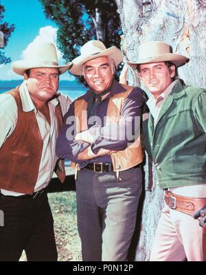 Original Film Title: BONANZA-TV.  English Title: BONANZA.  Film Director: ROBERT ALTMAN; LEWIS ALLEN.  Year: 1959.  Stars: LORNE GREENE; MICHAEL LANDON; DAN BLOCKER. Credit: NATIONAL BROADCASTING CO. / Album - Stock Photo