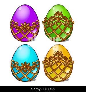 A set of multicolored eggs in a golden frame isolated on white background. Vector cartoon close-up illustration. - Stock Photo