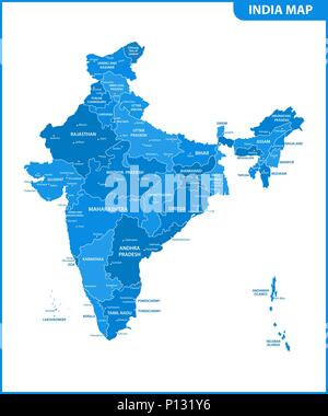 The detailed map of the India with regions or states and cities, capital. Administrative division. - Stock Photo