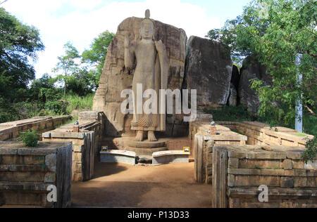 Aukana standing Buddha statues of the Buddha near Kekirawa in North Central Sri Lanka - Stock Photo