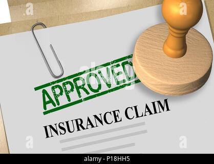3D illustration of APPROVED stamp title on insurance claim document - Stock Photo