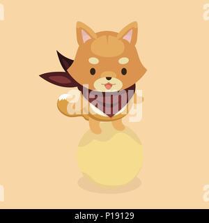 Vector illustration of cute Shiba Inu dog. - Stock Photo