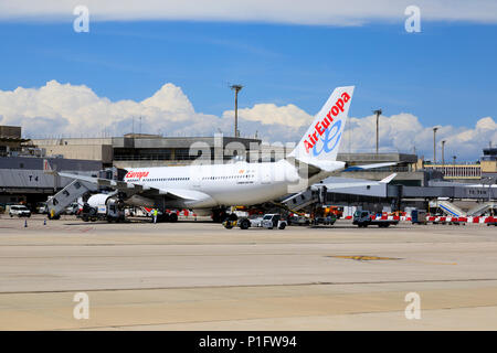 Air Europa Airbus A330-202 airliner. Adolfo Suarez Barajas airport, Madrid, Spain. May 2018 - Stock Photo