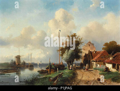 Leickert  Charles Henri Joseph - a River Landscape - Stock Photo
