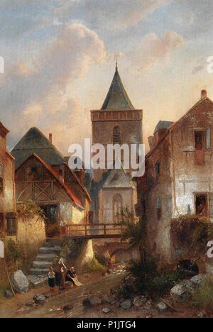 Leickert  Charles Henri Joseph - View in a German Village with Washerwomen - Stock Photo