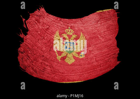 Grunge Montenegro flag. Montenegro flag with grunge texture. Brush stroke. - Stock Photo