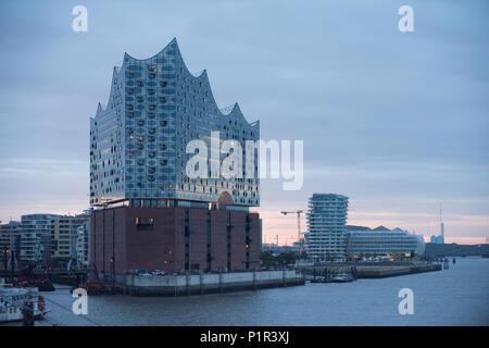 Hamburg, Germany, skyline from the port of Hamburg with Elbphilharmonie - Stock Photo