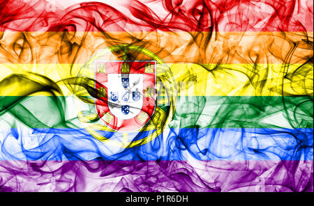 Portugal gay smoke flag, LGBT Portugal flag - Stock Photo
