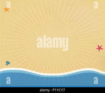 Top view of golden sandy beach with yellow sand, shells and starfish in flat icon design. Seaside background or border frame with radiant sun rays for - Stock Photo