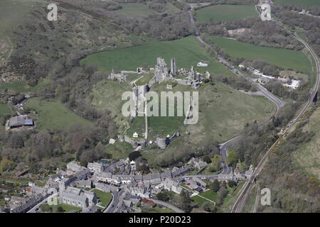 An aerial view of Corfe Castle, near Wareham, Dorset - Stock Photo