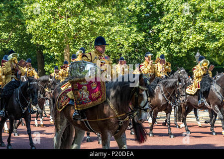 Drum Horse of the Household Cavalry making their way along The Mall  at The Trooping Of The Colour / Queens Birthday parade  2018 - Stock Photo