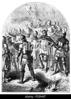 The Battle of Agincourt, 25 October 1415, was a major English victory in the Hundred Years' War that took place some 40 km south of Calais. The battle is notable for the use of the English longbow in large numbers, with the English and Welsh archers forming up to 80 percent of Henry's army. The decimation of the French cavalry at their hands is regarded as an indicator of the decline of cavalry and the beginning of the dominance of ranged weapons on the battlefield. - Stock Photo
