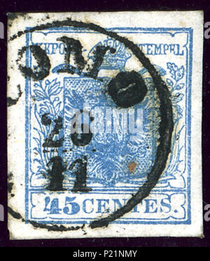 . English: Austrian KK stamp in Lombardy province, 45 centes issue 1850, Handpaper type I, cancelled at COMO. 9 January 2014, 22:20:32. Jacquesverlaeken 2 1850 LV 45centes Como Mi5Xa - Stock Photo