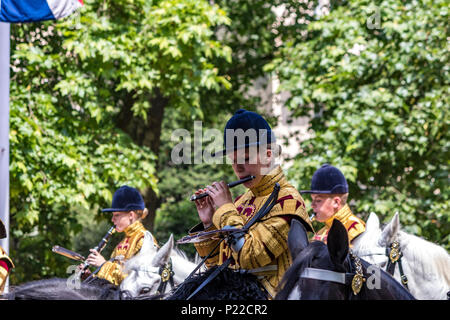 The Band of the Household Cavalry making their way along The Mall  at The Trooping Of The Colour / Queens Birthday parade  2018 - Stock Photo