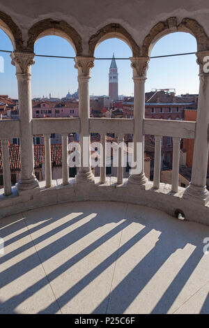 View from the summit of Contarini Dal Bovolo Stairway, Venice, Veneto, Italy - Stock Photo
