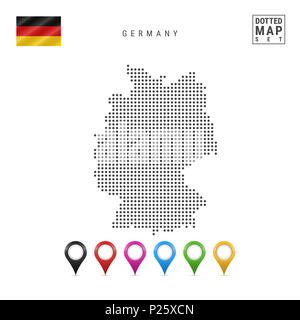 Dotted Map of Germany. Simple Silhouette of Germany. The National Flag of Germany. Set of Multicolored Map Markers. Illustration Isolated on White - Stock Photo