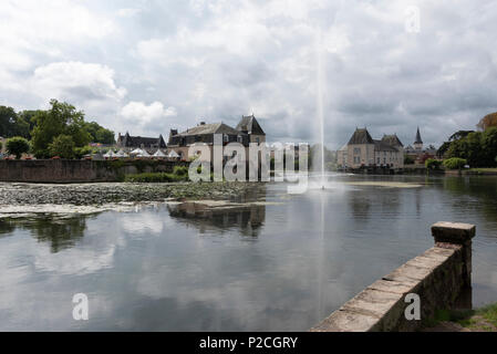 The large water fountain at La Flèche in the Sarthe department of Western France. - Stock Photo