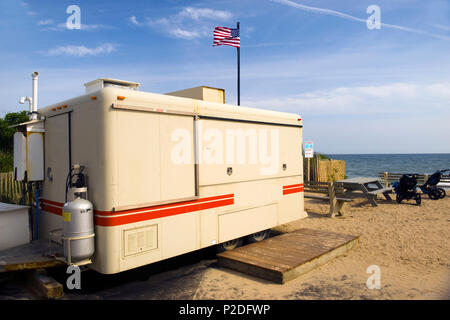food stand on wheels closed in off season in parking lot of famed surfing beach Ditch Plains in Montauk, New York - Stock Photo