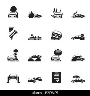 Silhouette car and transportation insurance and risk icons - vector icon set - Stock Photo
