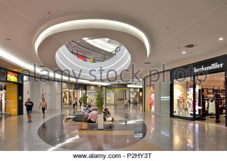 Centro Comercial Vialia - modern shopping center passage and sitting lounge in Malaga Spain Europe. - Stock Photo