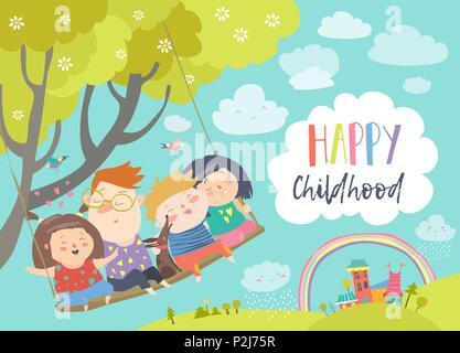 Happy kids flying on a swing - Stock Photo