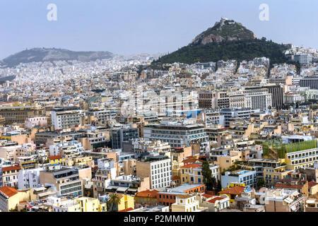 Neighborhoods from Acropolis Church Mount Lycabettus Athens Greece.  Tallest mountain in Athens. - Stock Photo