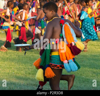 Swazi girls parade at Umhlanga (Reed Dance Festival), Swaziland - Stock Photo