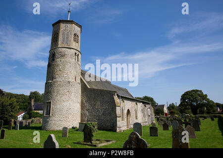 St Mary the Virgin Church, with its octagonal tower and thatched roof nave in the village of Beachamwell, Norfolk, United Kingdom - Stock Photo