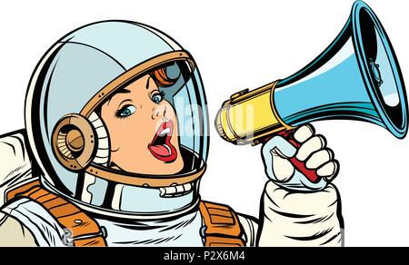 woman astronaut with megaphone isolate on white background - Stock Photo