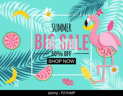 Abstract Tropical Summer Sale Background with Flamingo and Leaves. Vector Illustration - Stock Photo