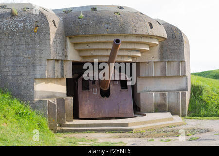 Longues-sur-Mer, Normandy, France, May 15, 2018, Remains of the german Battery which was captured on June 07 1944, Bunker and Artillery Guns - Stock Photo