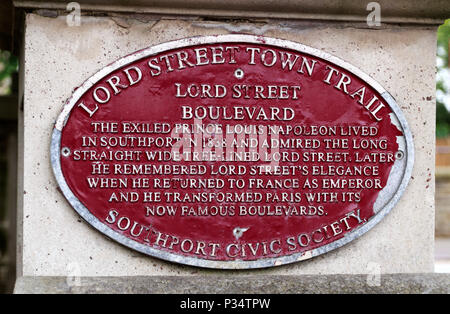 Lord Street Boulevard Plaque. - Stock Photo