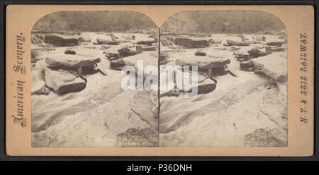 9 ... Rock Falls, Portage, above Lower Falls, from Robert N. Dennis collection of stereoscopic views - Stock Photo