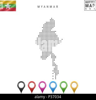 Vector Dotted Map of Myanmar. Simple Silhouette of Myanmar. National Flag of Myanmar. Set of Multicolored Map Markers - Stock Photo