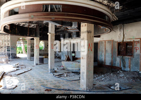 Bombed out and derelict hotels in the resort of Kupari near Dubrovnik in Croatia which were destroyed during the Balkans conflict 1991-1992 - Stock Photo
