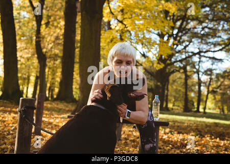 Senior woman in a park stoking her dog - Stock Photo
