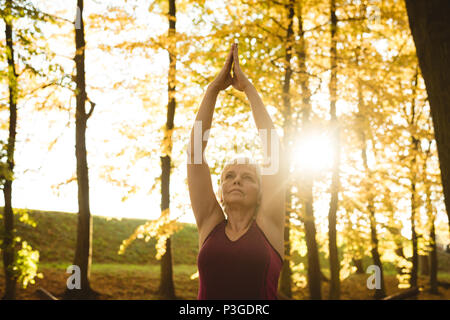 Senior woman practicing yoga in a park - Stock Photo