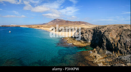 Beautiful landscape of famous Papagayo Beach on the Lanzarote Island, Canary, Spain. Travel destination. Nature background - Stock Photo
